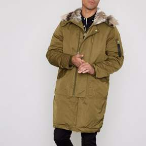 River Island Mens Khaki faux fur lined double zip hooded parka