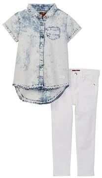 7 For All Mankind Denim Shirt & Skinny Jeans Set (Toddler Girls)