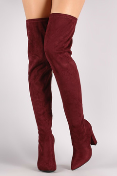 Bamboo Burgundy Over-The-Knee Boots