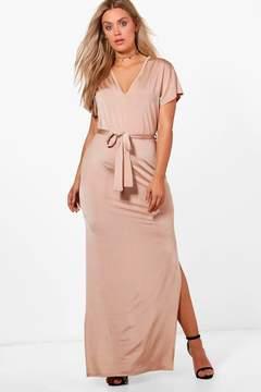 boohoo Plus Tora Slinky Kimono Sleeve Tie Maxi Dress