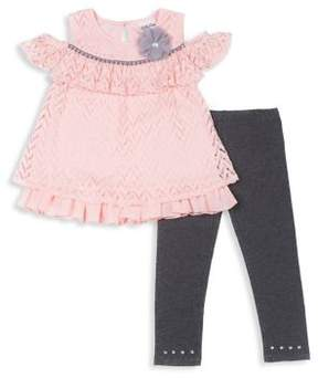 Little Lass Baby Girl's Cheveron Top and Legging Set