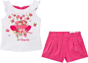 Mayoral Fuchsia Diamante Girl Vest and Shorts Set