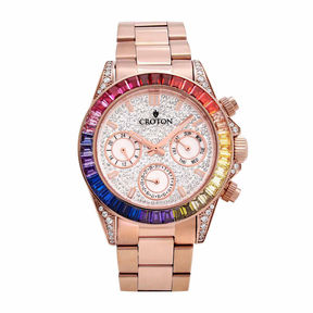 Croton Womens Rose Goldtone Bracelet Watch-Cn307565rgmc