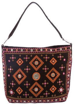 Tory Burch Embroidered Canvas Tote - BROWN - STYLE
