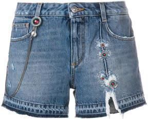 Ermanno Scervino ripped embroidered denim shorts