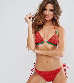 South Beach Strawberry Crochet Bikini Set