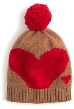 J.Crew Women's Cashmere Heart Beanie - Beige