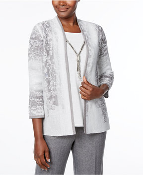 Alfred Dunner Silver Bells Metallic-Knit Layered Necklace Top