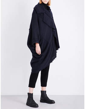Y's Ys Ladies Navy Asymmetric Knitted Cape Size