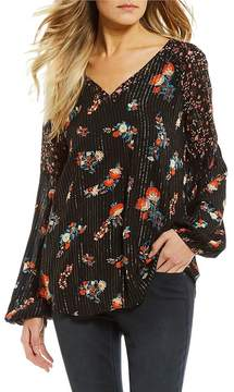 Miss Me Floral Stripe V-Neck Bell Sleeve Top
