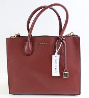 Michael Kors Brick Red Pebbled Leather Large Mercer Tote Purse - REDS - STYLE