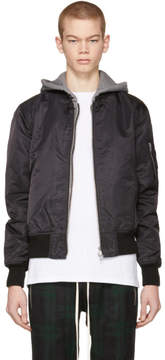 R 13 Black Co Hooded Flight Jacket