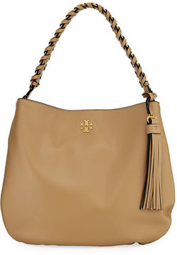 Tory Burch Brooke Whipstitch Chain Leather Hobo Bag - BLACK - STYLE