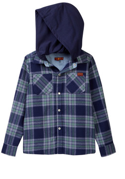 7 For All Mankind Hooded Button Up Flannel (Little Boys)