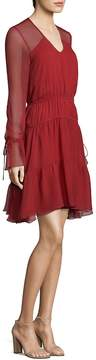 Shoshanna Women's Silk Sheer Long-Sleeve Dress