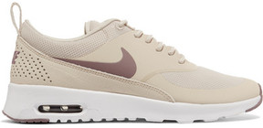 Nike Air Max Thea Rubber, Stretch-mesh And Croc-effect Leather Sneakers - Beige