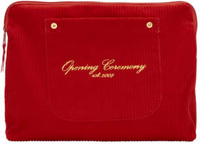 Opening Ceremony Red Corduroy Big Pocket Clutch