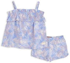 7 For All Mankind Girls' Palm-Print Ruffled Cami & Shorts Set - Little Kid