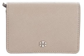 Tory Burch Leather Logo Wallet - BROWN - STYLE