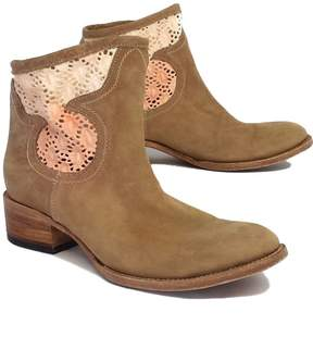 Freebird Tan Crochet Leather Booties