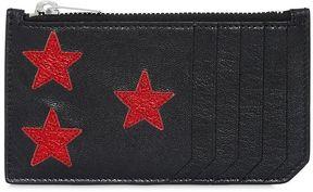 Metallic Stars Leather Zip Card Holder