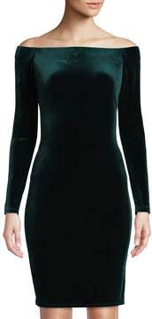 Eliza J Off-The-Shoulder Long-Sleeve Velvet Dress