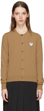 Comme des Garcons Tan and White Heart Patch Cardigan