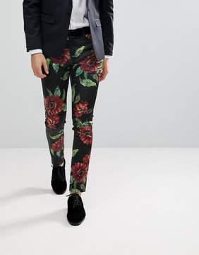 Asos Super Skinny Smart Pants With Bold Floral Print