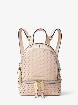 Michael Kors Rhea Mini Perforated Leather Backpack - PINK - STYLE