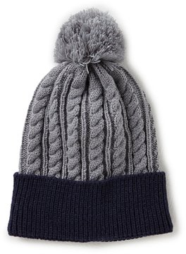 Class Club Colorblocked Cable-Knit Beanie with Pom