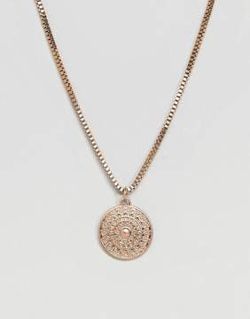 Aldo Compass Pendant Necklace In Brushed Gold