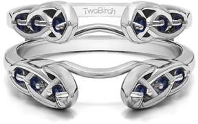 Celtic TwoBirch Sapphire Mounted in Sterling Silver Infinity Ring Guard Enhancer (0.24ctw)