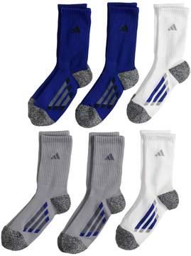 adidas Boys 4-20 6-Pack Crew Cushioned Socks