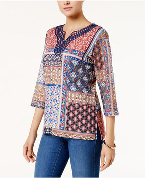 Alfred Dunner Gypsy Moon Patchwork-Print Top