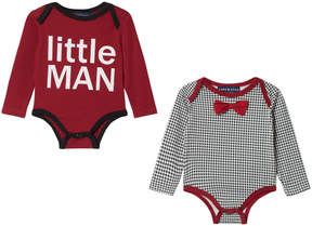 Andy & Evan Red and Check Print Two Pack Onesie Set
