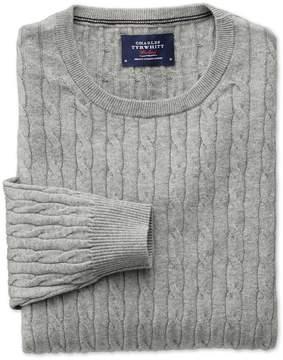 Charles Tyrwhitt Light Grey Cotton Cashmere Cable Crew Neck Cotton/Cashmere Sweater Size XXL