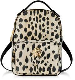 Roberto Cavalli Women's Beige/black Leather Backpack.