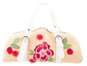 Christian Dior Raffia Floral Bowler Bag