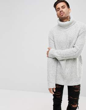 Pull&Bear Ribbed Chunky Roll Neck Sweater In Gray