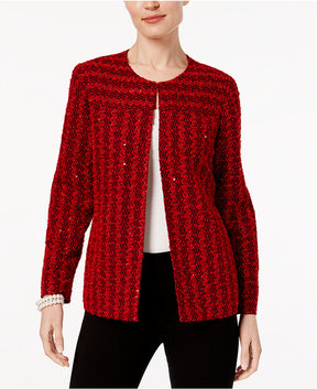 Alfred Dunner Talk Of The Town Tweed Collarless Blazer