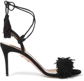 Aquazzura Wild Thing Fringed Suede Sandals - Black