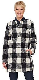 C. Wonder As Is Wool Blend Buffalo Plaid Snap Front Coat