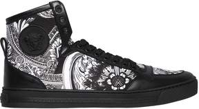 Versace Baroque Print Canvas & Leather Sneakers