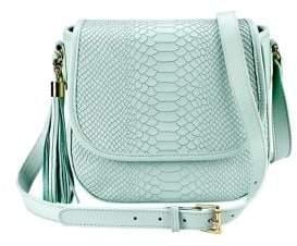 GiGi New York Kelly Python-Embossed Leather Saddle Bag