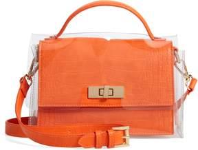 Steve Madden Croc Embossed Clear Cover Crossbody Bag