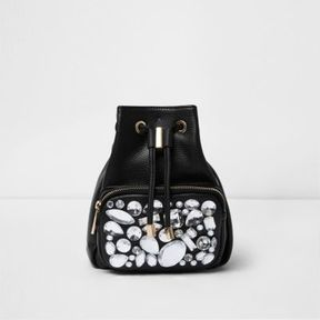 River Island Womens Black gem embellished mini backpack