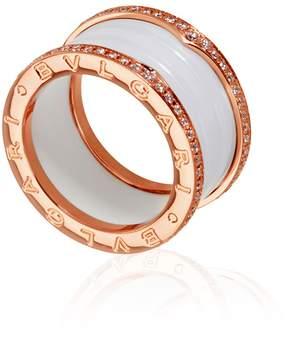 Bvlgari B.Zero1 18K Pink Gold And White Ceramic 4-Band Diamond Pave Ring Size 7