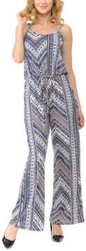 Celeste Blue Chevron Sleeveless Wide-Leg Jumpsuit - Women & Plus