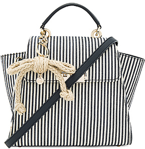 Zac Zac Posen Eartha Iconic Convertible Striped Canvas Backpack in Navy.