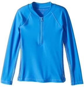 Seafolly Sapphire Coast Long Sleeve Zip Rashie Girl's Swimwear